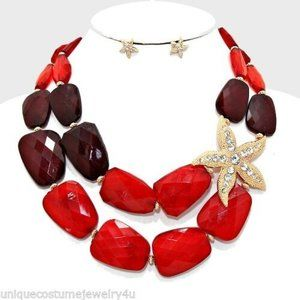 Red Crystal Pave Starfish Sea Nautical Necklace